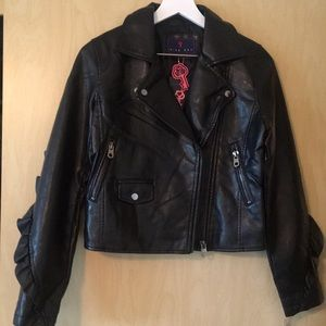NWT black ruffle vegan motorcycle jacket.